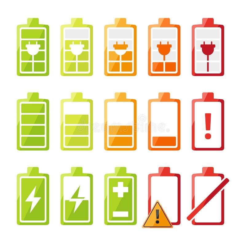 O ícone ajustou-se com estado diferente do carregador de bateria para o telefone celular ou o smartphone ilustração do vetor