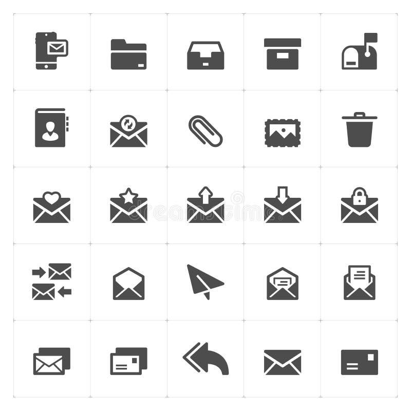 O ícone ajustou-se - estilo contínuo do ícone do correio e da letra ilustração do vetor