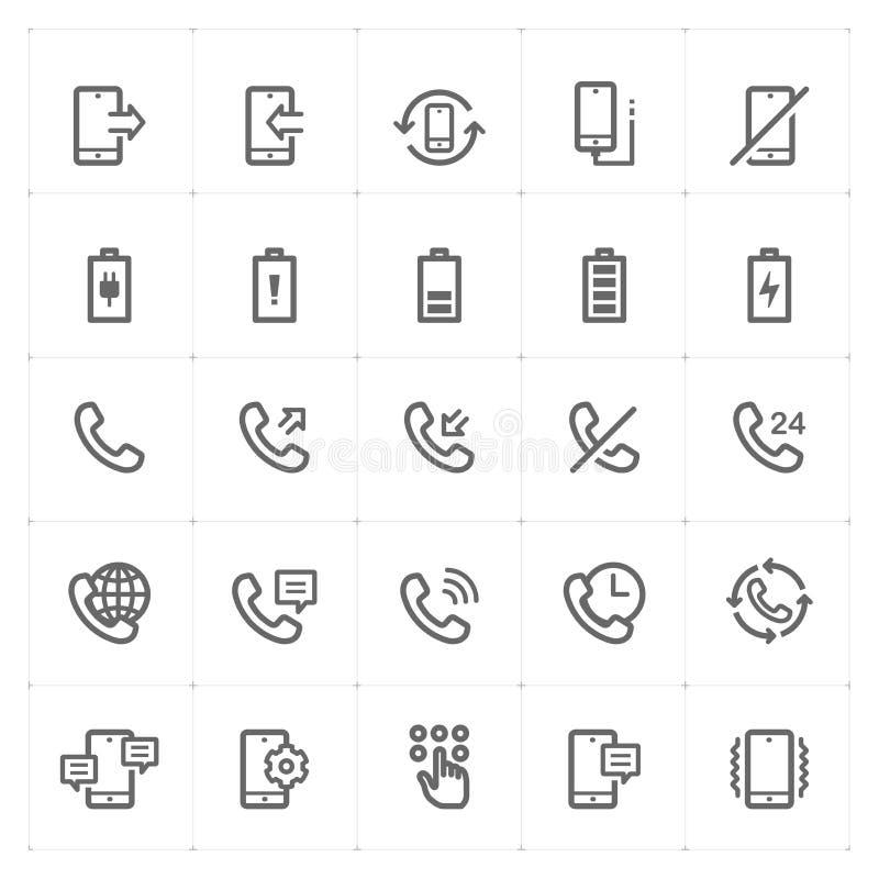 O ícone ajustou-se - telefone e chamando o curso do esboço ilustração do vetor