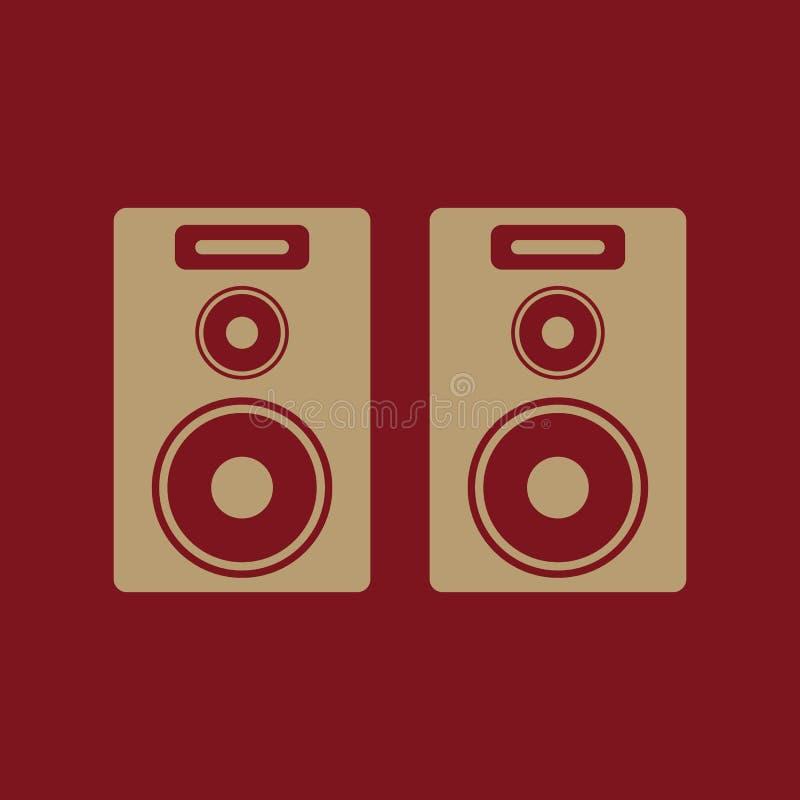 O ícone audio Orador e música, som, símbolo estereofônico liso ilustração stock