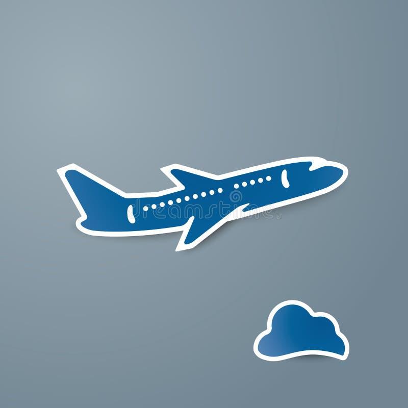 O ícone azul do avião e da nuvem no fundo cinzento vector a ilustração ilustração royalty free