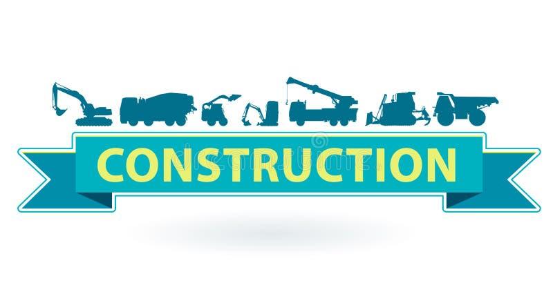 O ícone azul e amarelo com grupo de terra trabalha veículos das máquinas Equipamento de construção pesado ilustração do vetor