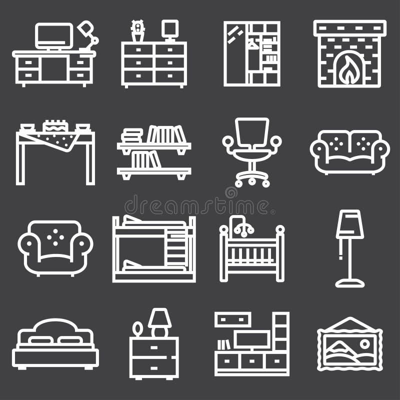 O ícone básico da mobília ajustou-se na linha estilo fina ilustração stock