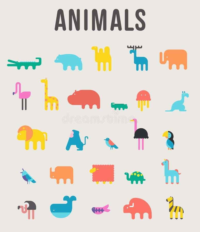 O ícone bonito da ilustração do vetor dos animais ajustou-se em um fundo branco ilustração royalty free