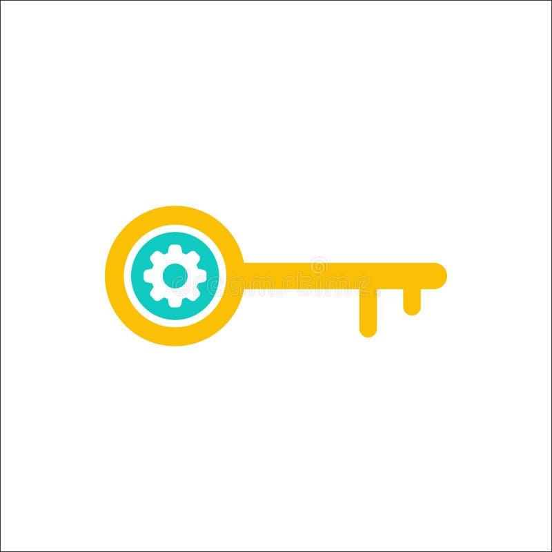O ícone chave, acesso, fechamento, fechado, ícone da segurança com ajustes assina O ícone chave e personaliza, setup, controla, p ilustração stock