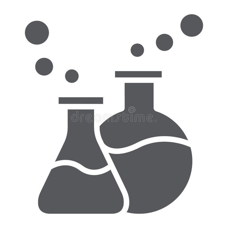 O ícone, a ciência e o laboratório do glyph dos produtos vidreiros de laboratório, garrafas químicas assinam, os gráficos de veto ilustração royalty free