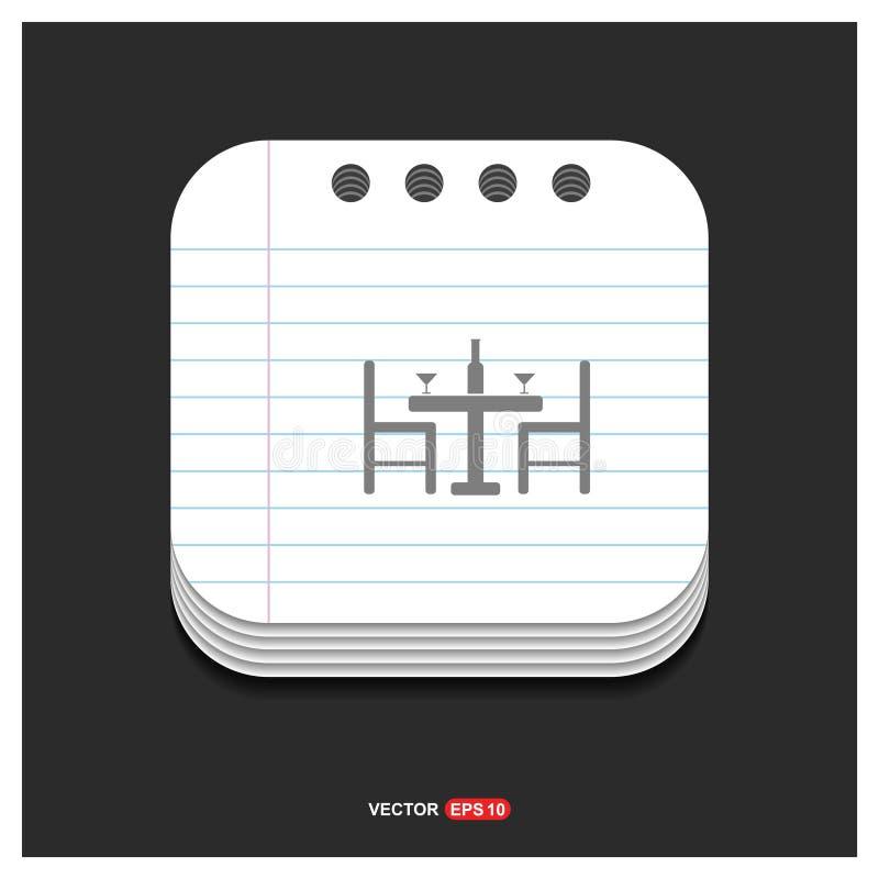 O ícone cinzento do ícone da tabela e das cadeiras no bloco de notas denomina o vetor do molde ilustração royalty free