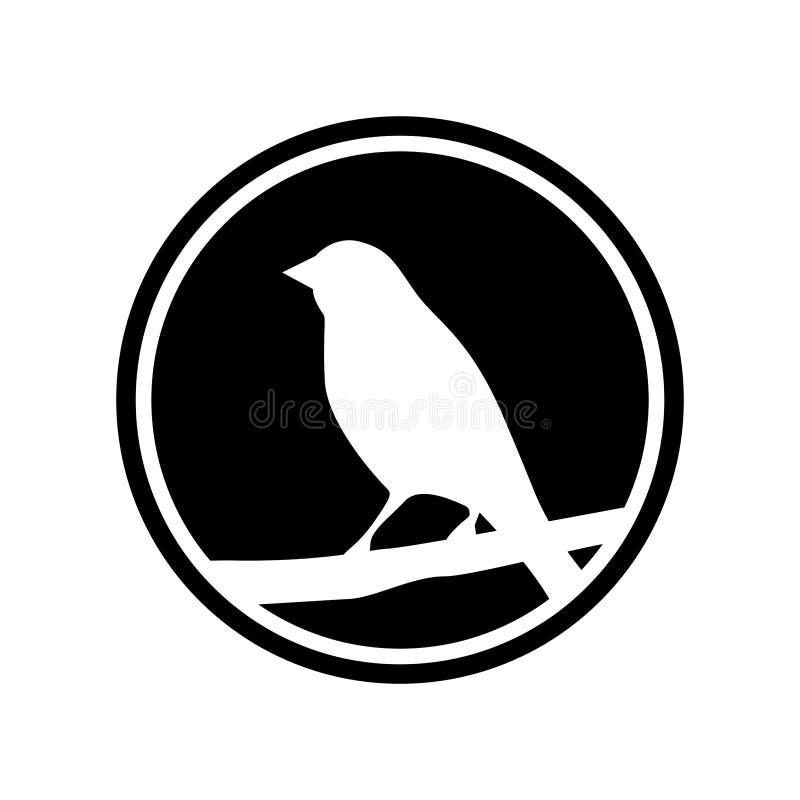 O ícone circular de um pássaro empoleirou-se em um ramo de árvore Ícone branco da silhueta do pássaro ilustração stock