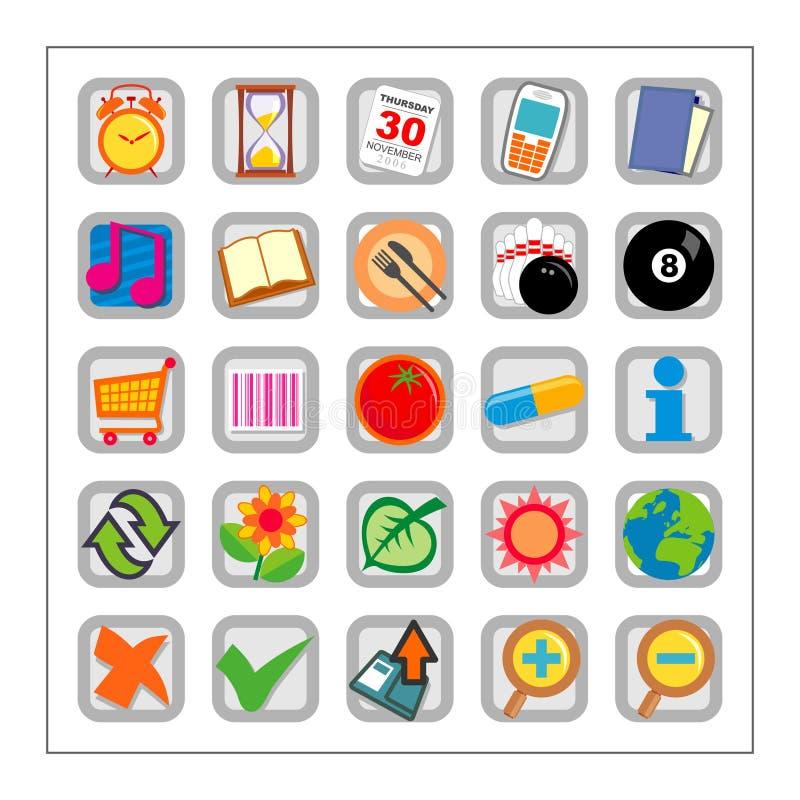 O ícone colorido ajustou 2 - Version2 ilustração do vetor