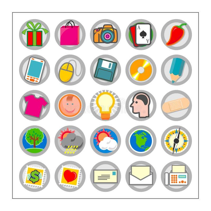 O ícone colorido ajustou 3 - Version1 ilustração do vetor