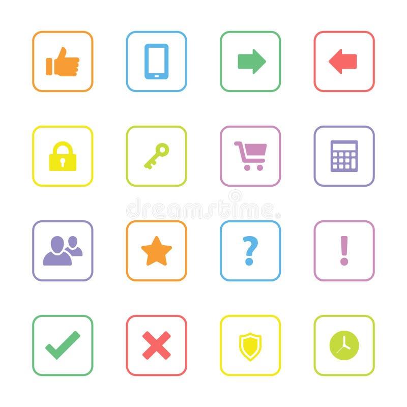 O ícone colorido da Web ajustou 2 com quadro arredondado do retângulo ilustração stock