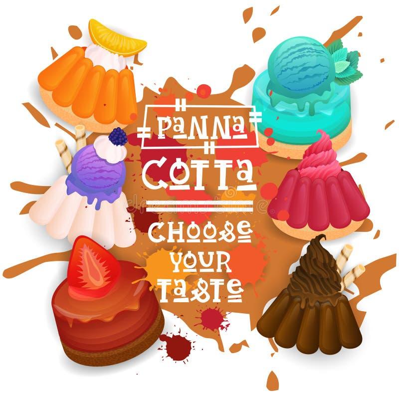 O ícone colorido de Panna Cotta Set Desserts Collection escolhe seu cartaz do café do gosto ilustração stock