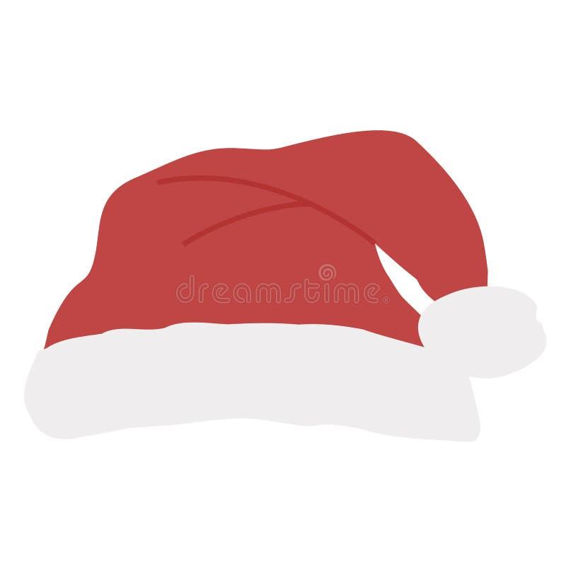 O ícone coloriu o chapéu vermelho de Santa com pompom em um fundo branco ilustração do vetor