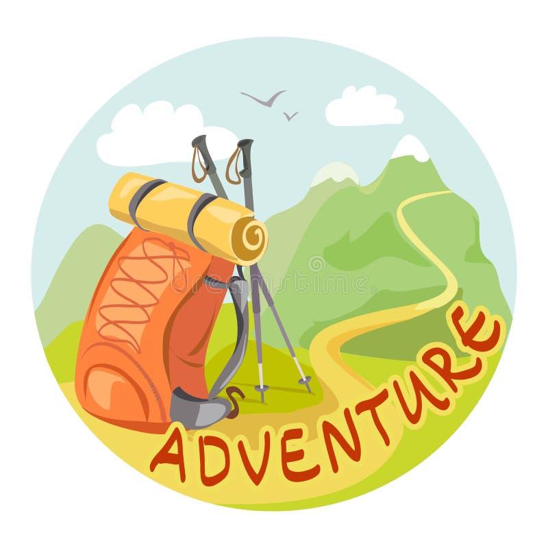 O ícone com uma trouxa e uma montanha ajardinam ilustração royalty free
