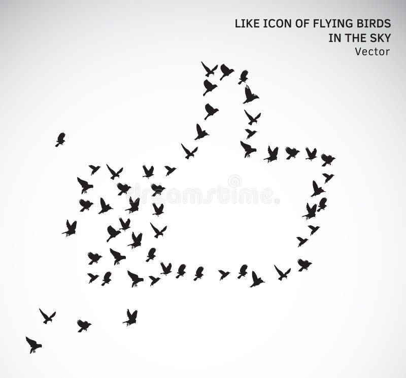 O ícone como de pássaros de voo isolou o símbolo ilustração do vetor