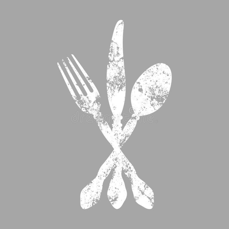 O ícone conectado da cutelaria risca branco e cinzento ilustração royalty free