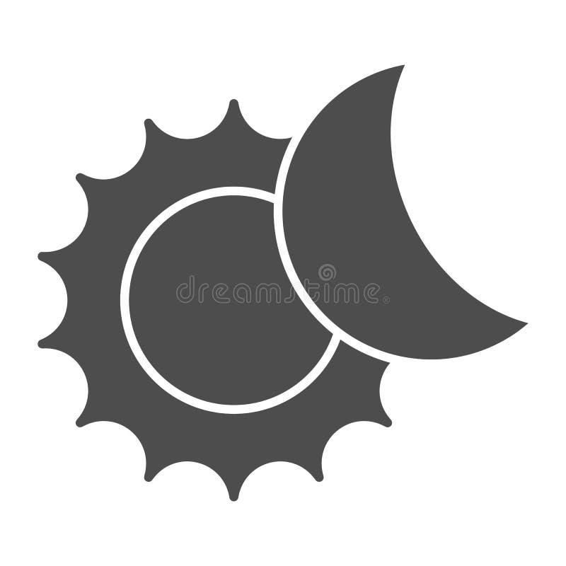 O ícone contínuo do sol e da lua Ilustração do vetor do eclipse solar isolada no branco Projeto do estilo do glyph da astronomia, ilustração royalty free