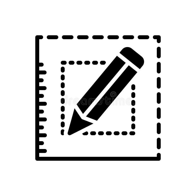 O ícone contínuo preto para Bespoke, pede e escreve ilustração do vetor