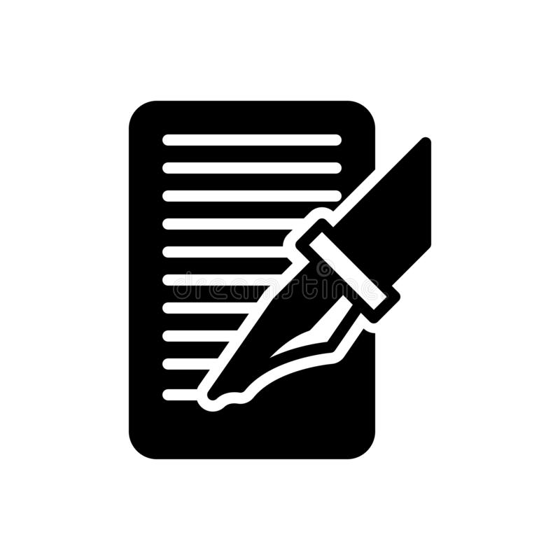 O ícone contínuo preto para Write, anunciou e ordem ilustração stock