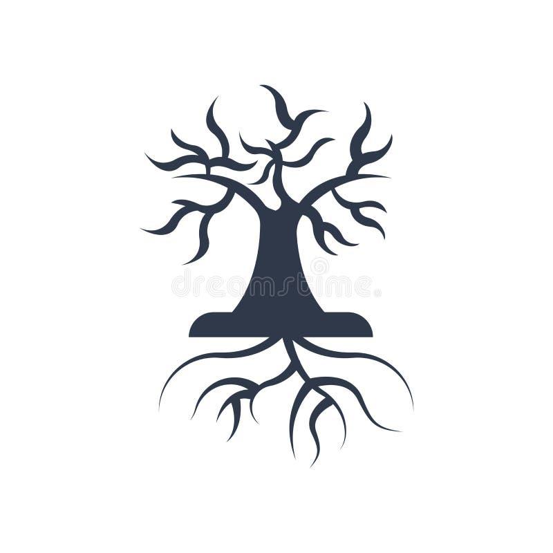 O ícone da árvore e das raizes vector o sinal e o símbolo isolado no CCB branco ilustração do vetor