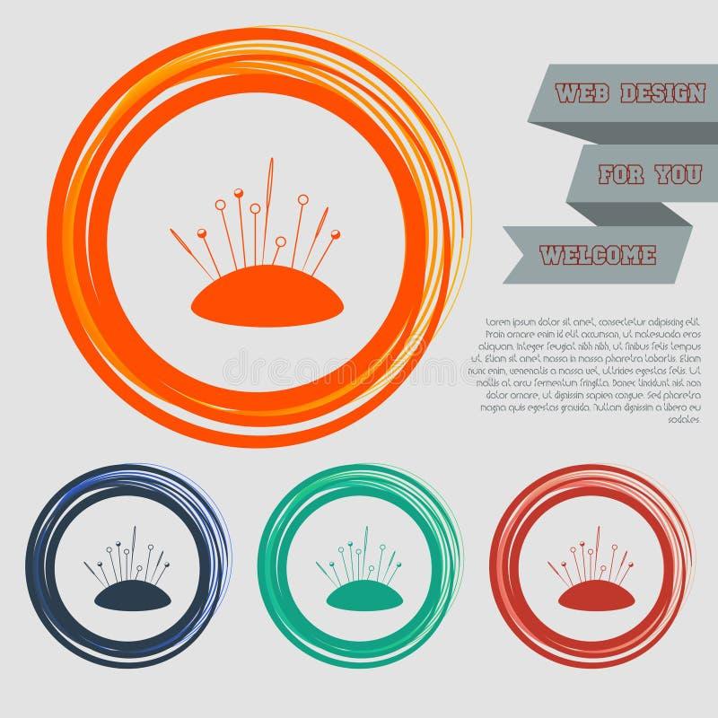 O ícone da agulha de costura nos botões vermelhos, azuis, verdes, alaranjados para seu Web site e no projeto com espaço text ilustração stock