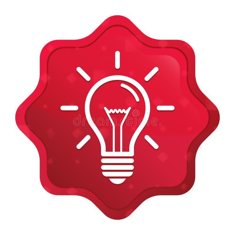 O ícone da ampola enevoado aumentou botão vermelho da etiqueta do starburst ilustração stock