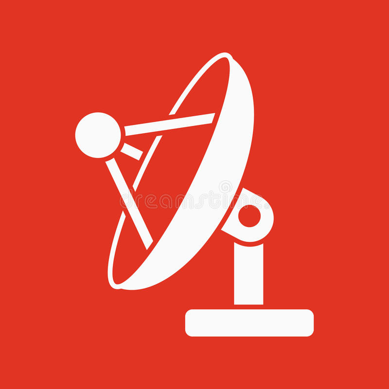 O ícone da antena satélite Comunique-se e transmita-se, símbolo das telecomunicações liso ilustração stock