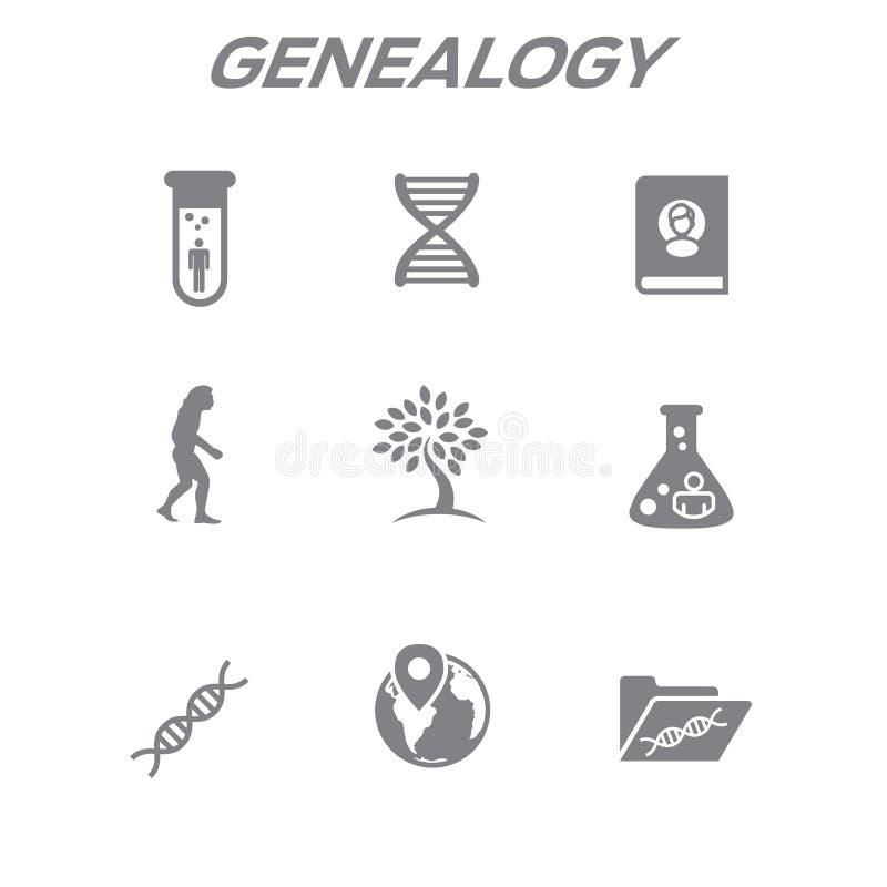 O ícone da ascendência ou da árvore genealógica ajustou-se com álbum da árvore genealógica, ADN, bico ilustração do vetor