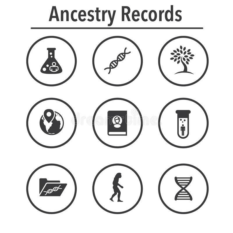 O ícone da ascendência ou da árvore genealógica ajustou-se com álbum da árvore genealógica, ADN, bico ilustração stock
