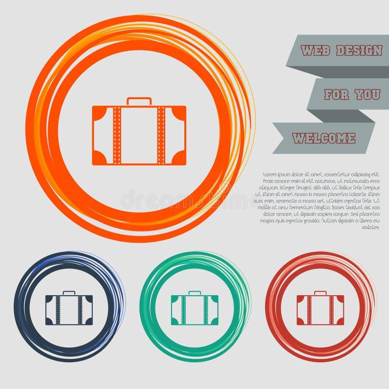 O ícone da bagagem nos botões vermelhos, azuis, verdes, alaranjados para seu Web site e no projeto com espaço text ilustração do vetor