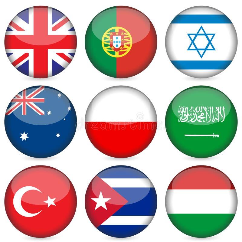 O ícone da bandeira nacional ajustou 4 ilustração stock