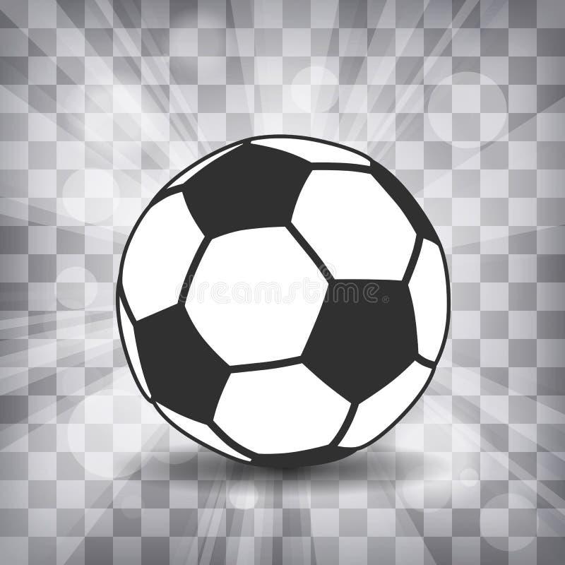 o ícone da bola de futebol com sombra e flash irradia em um backg chequered ilustração do vetor