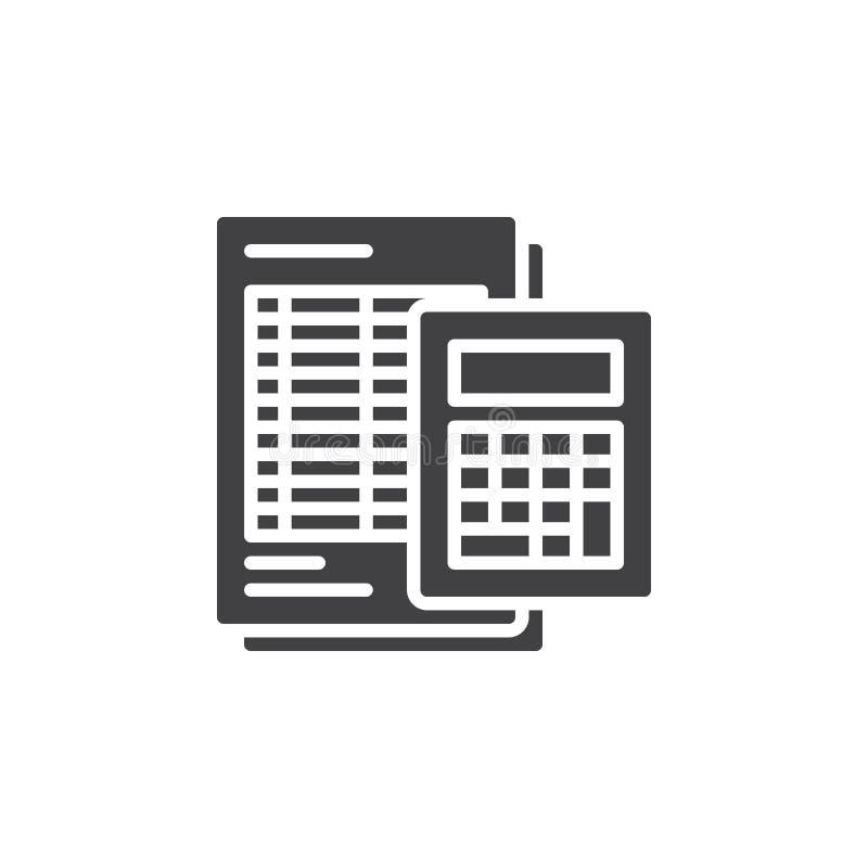 O ícone da calculadora e da folha vector, sinal liso enchido, pictograma contínuo isolado no branco ilustração royalty free