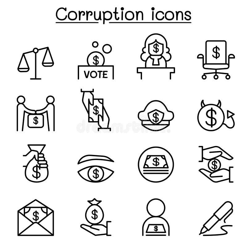 O ícone da corrupção & da desonestidade ajustou-se na linha estilo fina ilustração do vetor