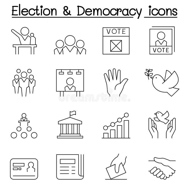O ícone da eleição & da democracia ajustou-se na linha estilo fina ilustração do vetor
