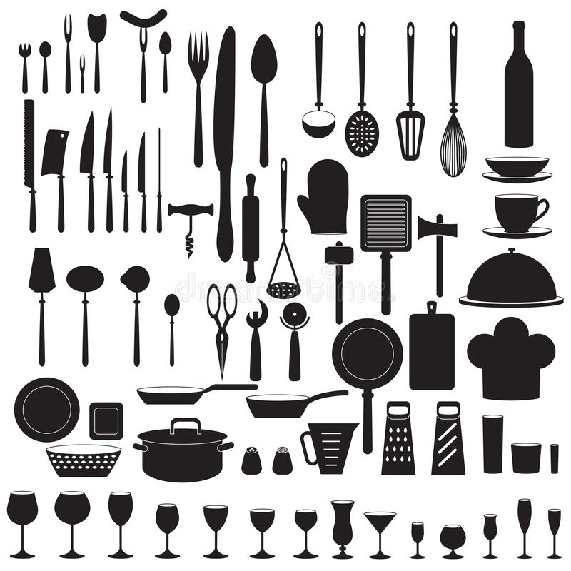 O ícone da ferramenta da cozinha ajustou-se com forquilha, faca, colher, vidro, copo, garrafa, bandeja, espátula Ilustração do ve ilustração stock