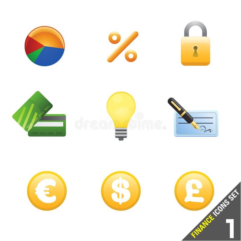 o ícone da finança ajustou 1 ilustração stock