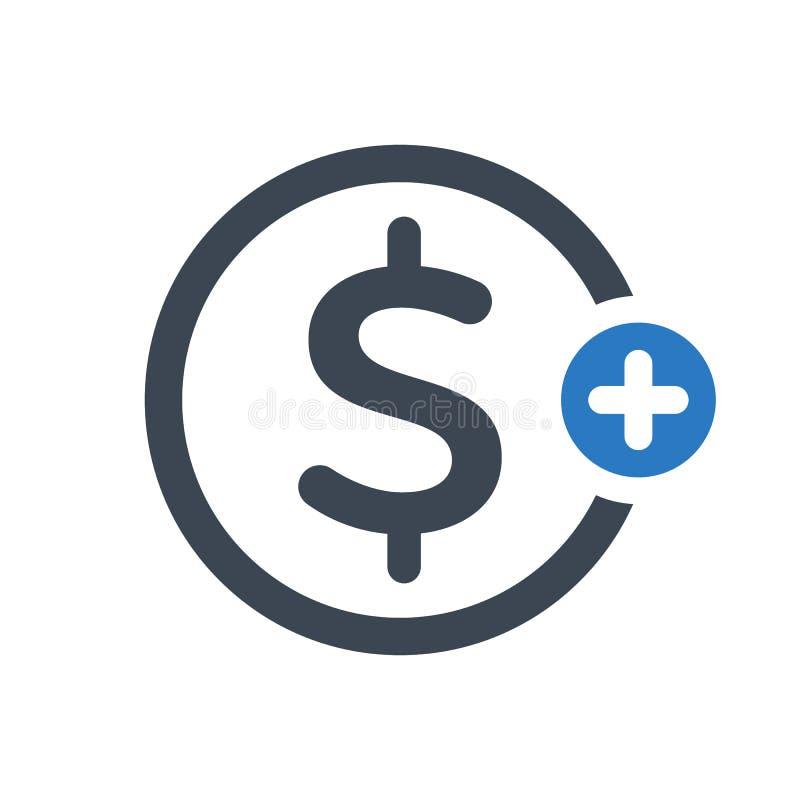 O ícone da finança com adiciona o sinal Financie o ícone e o símbolo novo, positivo, positivo ilustração royalty free