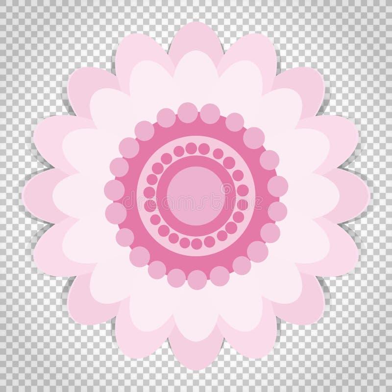 O ícone da flor cor-de-rosa, vector o símbolo floral isoleted ilustração do vetor