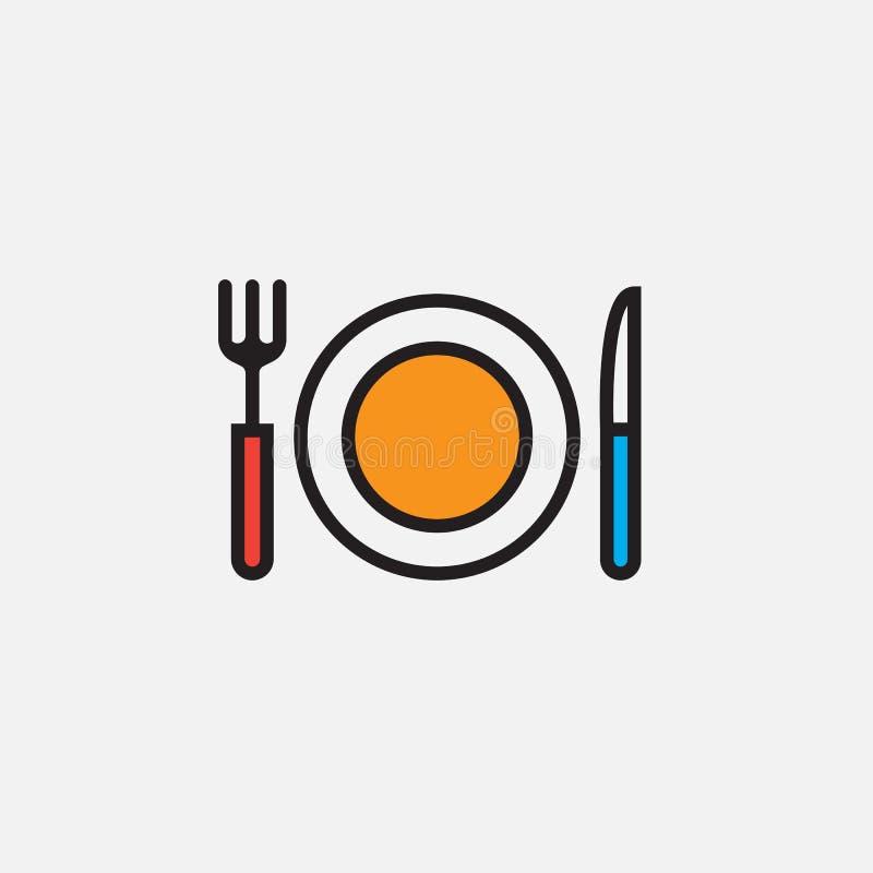 O ícone da forquilha, da faca e do prato, ilustração do logotipo do vetor do esboço, encheu o pictograma linear da cor isolado no ilustração royalty free