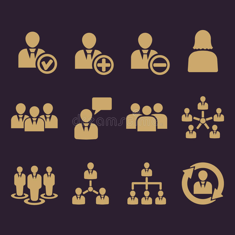 O ícone da gestão, grupo de 12 ícones Equipe e grupo, trabalhos de equipa, pessoa, aliança, símbolo da gestão Ui web logo sinal ilustração stock
