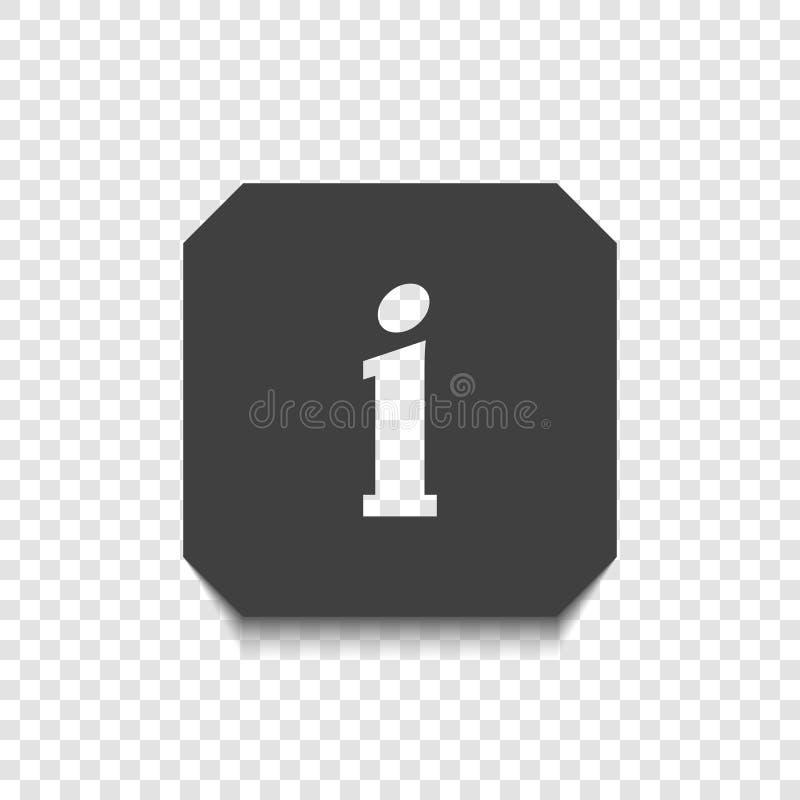 O ícone da informação em um fundo transparente com uma letra transparente mim Vetor ilustração stock