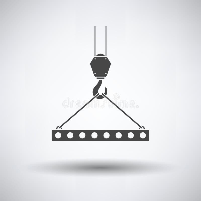 O ícone da laje pendurou no gancho do guindaste por estilingues da corda ilustração stock