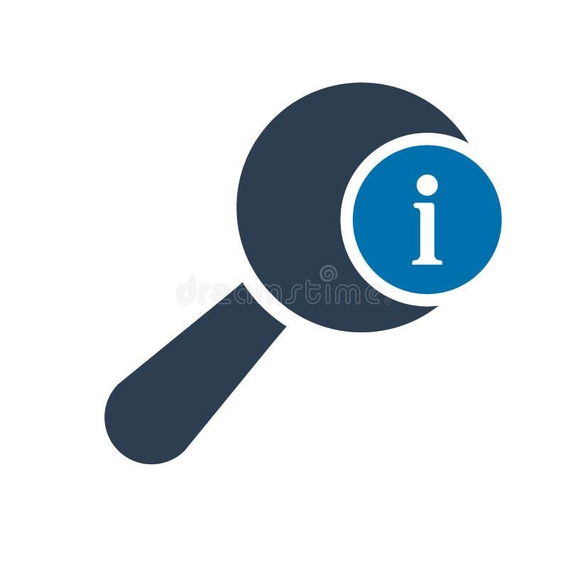 O ícone da lupa, o ícone das ferramentas e dos utensílios com informação assinam Ícone da lupa e aproximadamente, FAQ, ajuda, sím ilustração royalty free