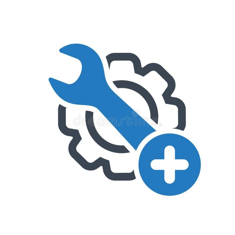 O ícone da manutenção com adiciona o sinal Ícone da manutenção e símbolo novo, positivo, positivo ilustração stock