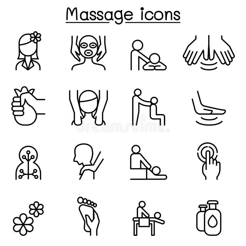 O ícone da massagem & dos termas ajustou-se na linha estilo fina ilustração stock
