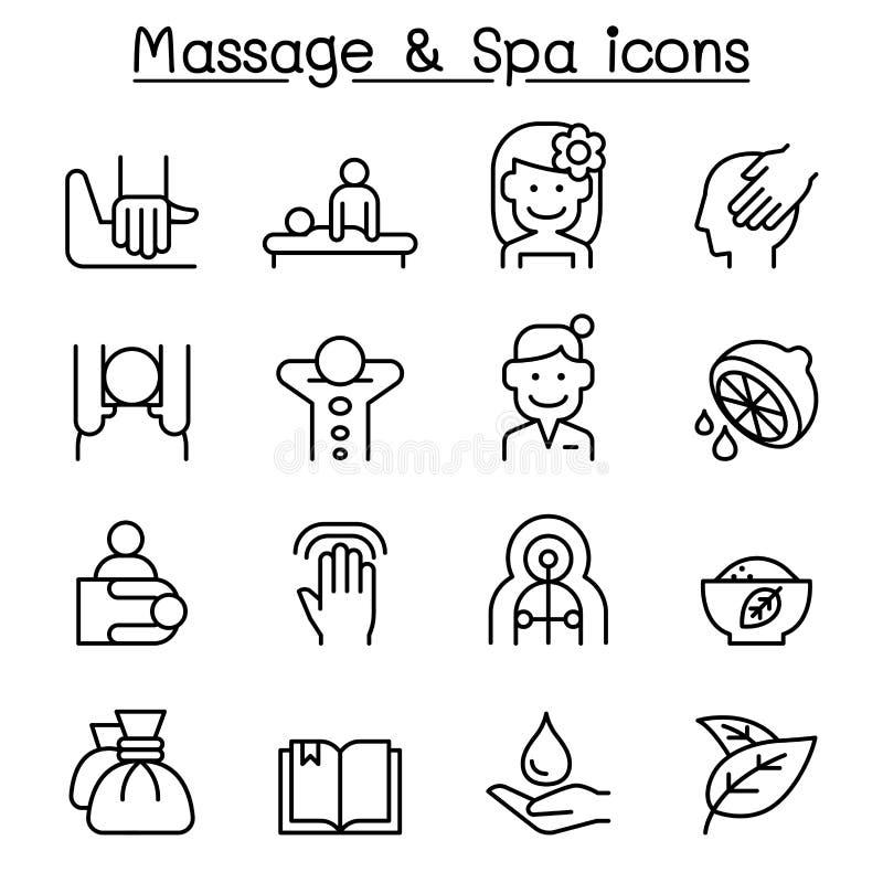 O ícone da massagem & dos termas ajustou-se na linha estilo fina ilustração do vetor