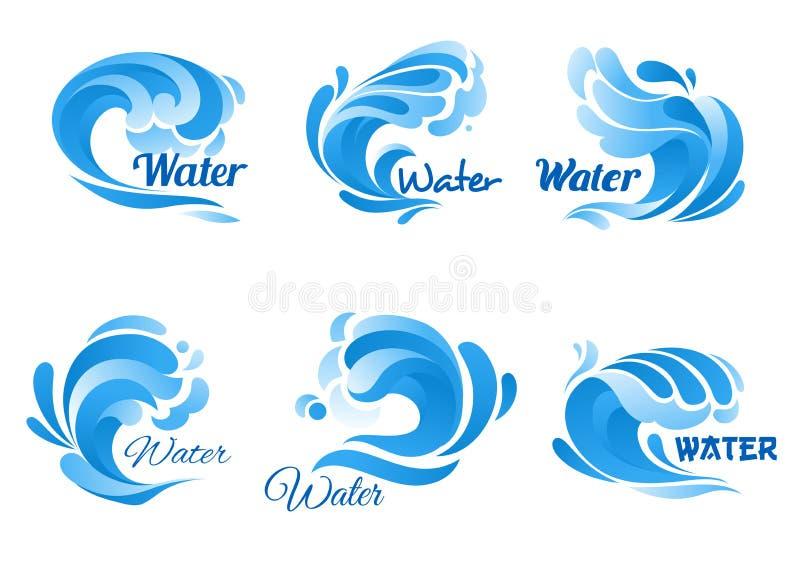 O ícone da onda de água azul ajustou-se para o fuzileiro naval, projeto da natureza ilustração royalty free