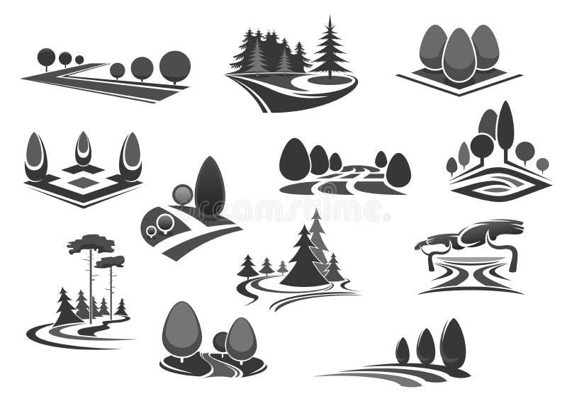 O ícone da paisagem da natureza ajustou-se com árvore e planta ilustração do vetor
