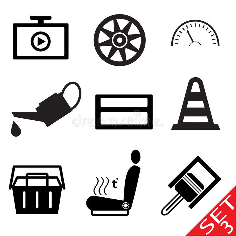 O ícone da peça do carro ajustou 3 ilustração stock